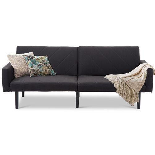 Tremendous Modern Black Linen Split Back Futon Sleeper Sofa Bed Couch Spiritservingveterans Wood Chair Design Ideas Spiritservingveteransorg