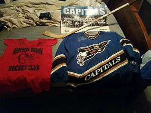 Washington capitals signed jeresy from the 98-99 teams hockey stick signed and also practice jersey signed for Sale in Clarksburg, MD