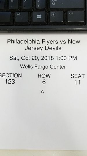 Flyers vs Devils Tickets (Section 123 Row 6) This Saturday at 1 PM... 3 tix to sell for Sale in GLOUCSTR CITY, NJ