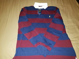 Photo Ralph Lauren MEDIUM Polo Rugby. Wine/Red & Navy color.