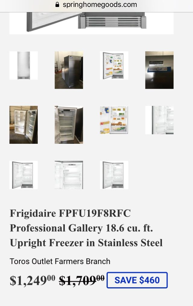 Frigidaire FPFU19F8RFC Professional Gallery 18.6 cu. ft. Upright Freezer in Stainless Steel