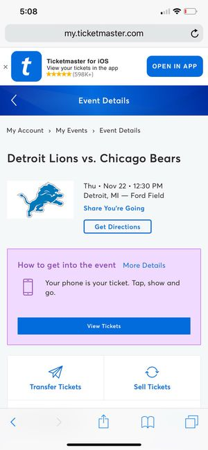 Detroit lions vs Chicago bears THANKSGIVING GAME for Sale in Canton, MI