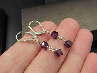 Sterling Silver Purple Box Crystal Earrings Vintage Wedding Engagement Anniversary Beautiful Everyday Minimalist Cute Sexy Thumbnail