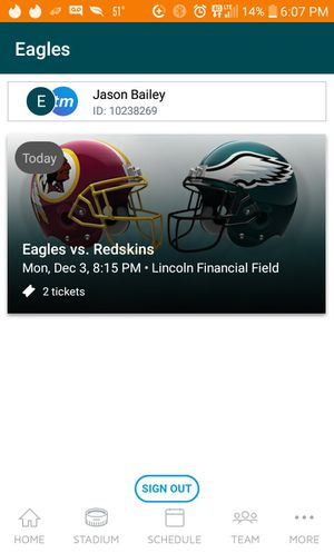 Philadelphia Eagles Tickets tonight! for Sale in Philadelphia, PA