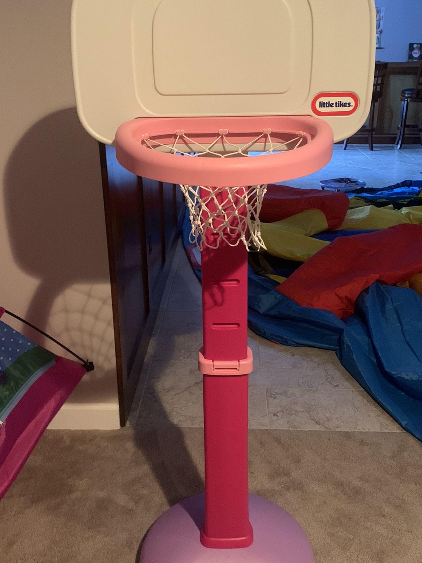 Little Tykes Adjustable Pink Basket Ball Hoop