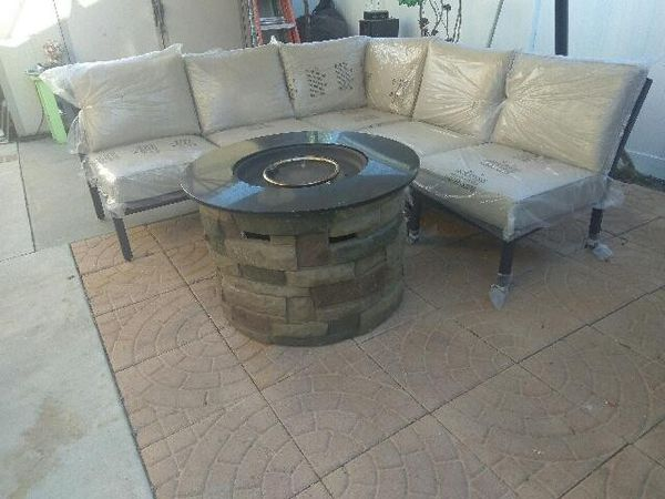 Patio Conversation Set with fire pit table for Sale in ...