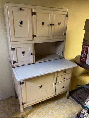 Photo Vintage Kitchen Cabinet Dresser - Antique Hutch - Wood and Metal