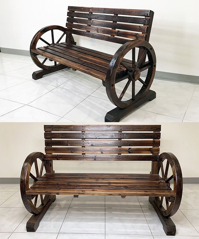 """(New In Box) $145 Large 50"""" Wooden Wagon Bench Rustic Wheel for Patio Garden Outdoor 50x23x34"""""""