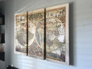 Vintage map Canvas Wrap 3 piece wall decor for Sale in Modesto, CA