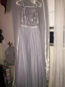 Grey Sparkly Prom Dress Thumbnail