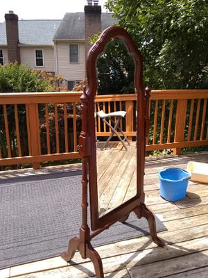 Wooden floor standing mirror has a little cosmetic damage on the right leg for Sale in Alexandria, VA