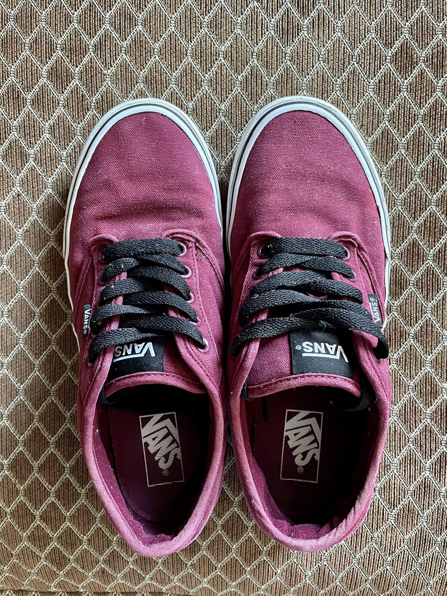 Vans Men Size 10 Burgundy/Red