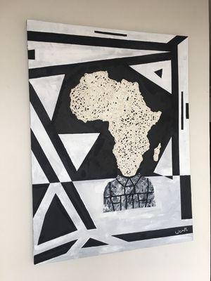 ''African Vibes (portrait)'' / positive art painting by artist W.C-M.T.L for Sale in Arlington, VA