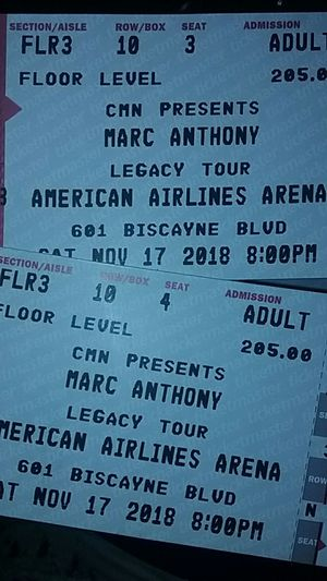 Marc Anthony Sat 17 American Airlines Arena $200 for Sale in Miami, FL
