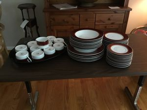 Set of dinner ware, 6 plates, 12 cups and saucers, and serving bowl and salad plates. for Sale in Fairfax, VA