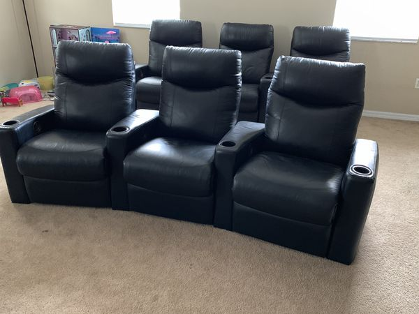 6 RECLINING LEATHER THEATER SEATS WITH CUPHOLDER for Sale in Orlando ...