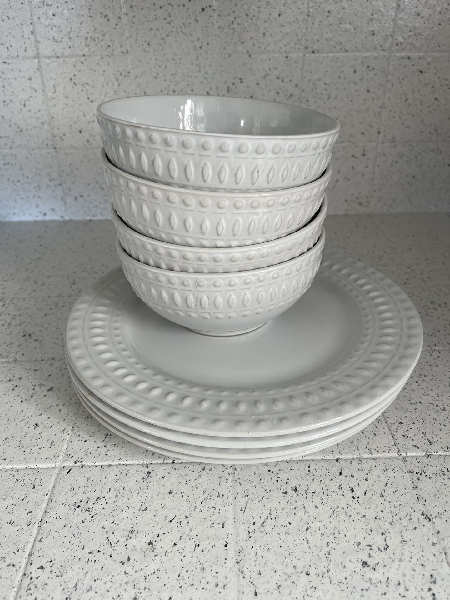 Boho White Plates And Bowls