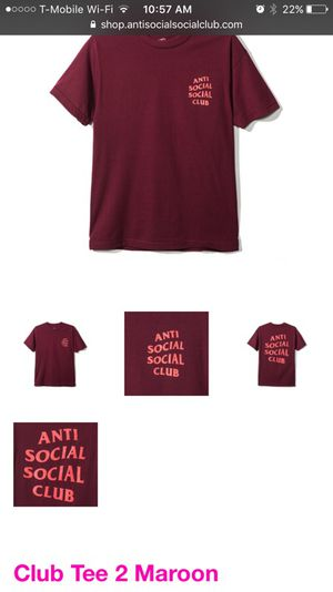 "Maroon Anti Social Social Club /""Club Tee 2/"" T Shirt"