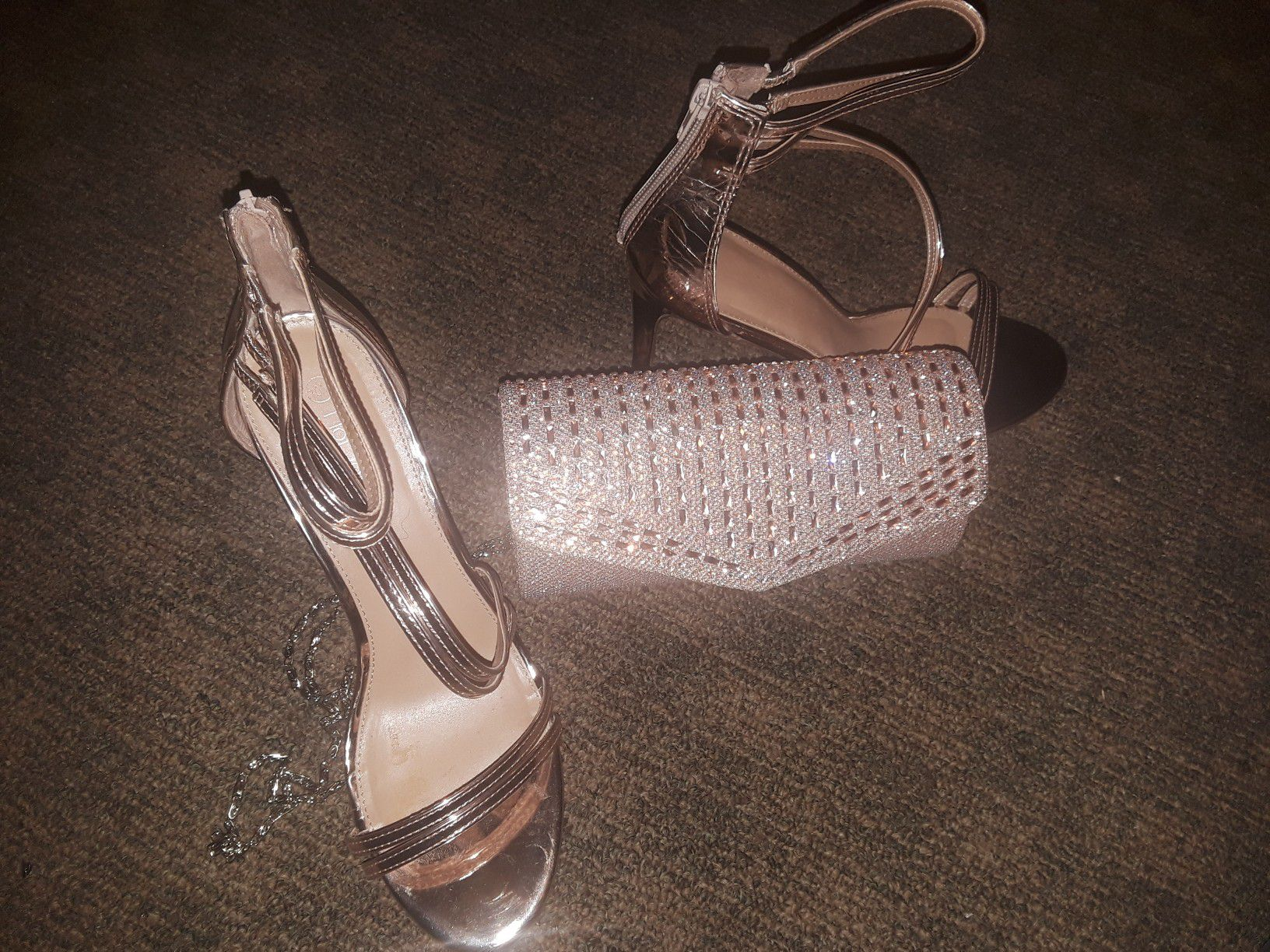 Rose gold heels and clutch sz 10