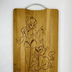 Sexy peach laser engraved bamboo high quality cuttingboard pop gift Thumbnail
