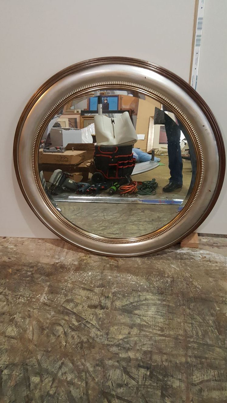 Silver brush mirror