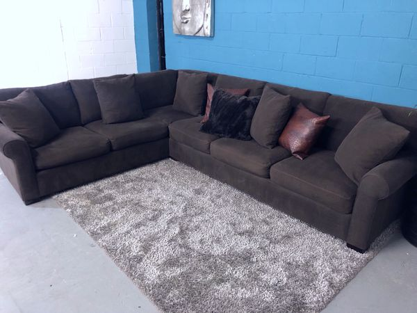 Haverty\'s XL 2PC Brown Sectional Sofa (Free Delivery) for Sale in ...