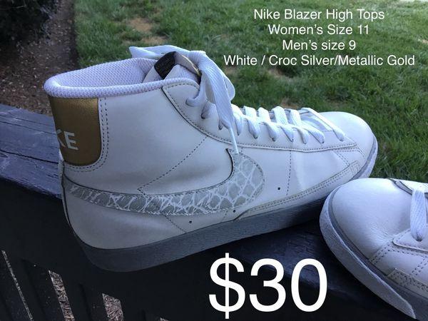 new concept f4c6a da928 ... usa nike blazer high tops womens size 11 mens size 9 white croc silver  metallic gold