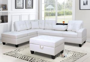 White Leather Storage Sectional for Sale in Silver Spring, MD