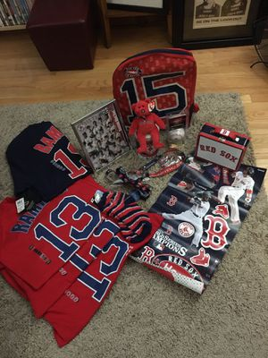 Photo Mostly New Boston Red Sox Collector's Package 4 Shirts/Ball/Lunch Box /Back Pack/ Socks And More!!