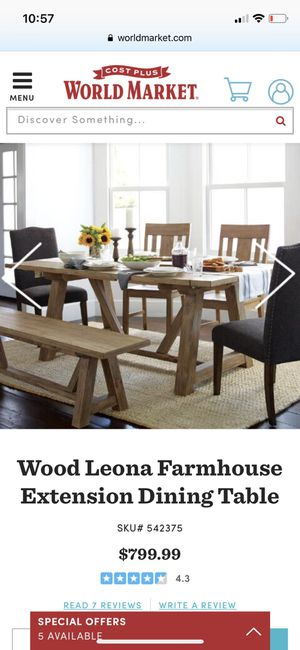 World Market Wood Leona Farmhouse Table With Extension For In Fircrest Wa Offerup