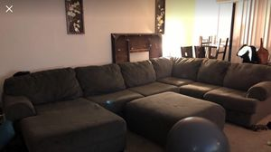 3 piece microfiber sectional with ottoman for Sale in Laurel, MD