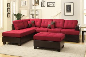 Brand New Red Linen Sectional Sofa Couch + Ottoman for Sale in Arlington, VA