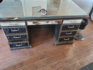 Photo Leather desk great condition
