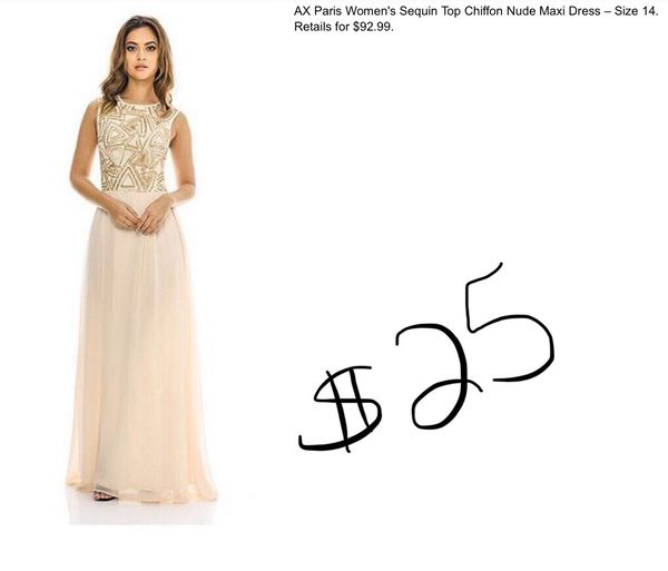 a75be032ff New Ax Paris Sequin Top Chiffon Nude Maxi Dress size 14 for Sale in  Minneapolis