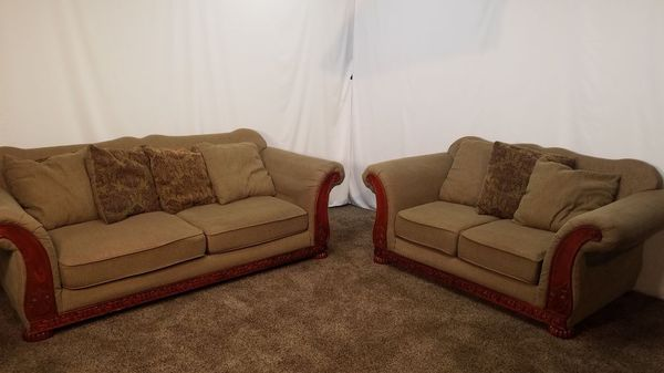C1407 - 2 Piece Tan / Light Brown Chenille Sofa And Love-Seat Set ...