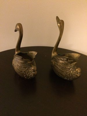 Two Antique Brass Swans for Sale in Herndon, VA