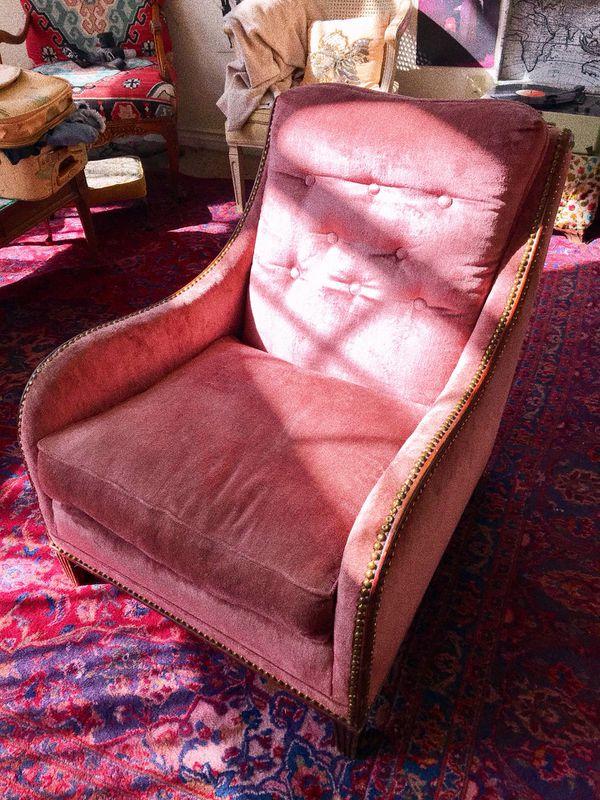 Velvet Mauve Vintage Upholstered Chair for Sale in El Cajon, CA ...
