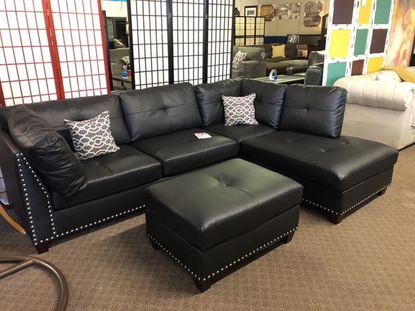 Black Leather Sectional with Ottoman We Offer No Credit Financing for Sale  in Sacramento, CA - OfferUp