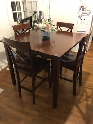 Dark Solid Wood Dining Table With 4 Chairs For Sale In San Antonio TX