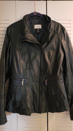 Neiman Marcus Exclusive Dark Green Leather Jacket | Size M for Sale in Alexandria, VA