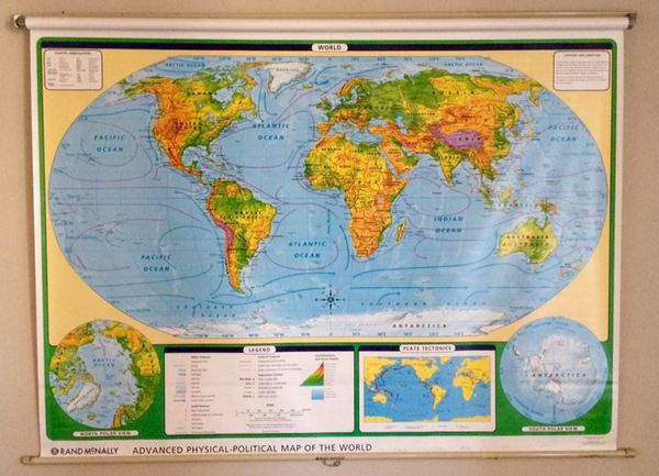 Vintage (original) Rand McNally wall hanging world map for Sale in Mesa, AZ  - OfferUp