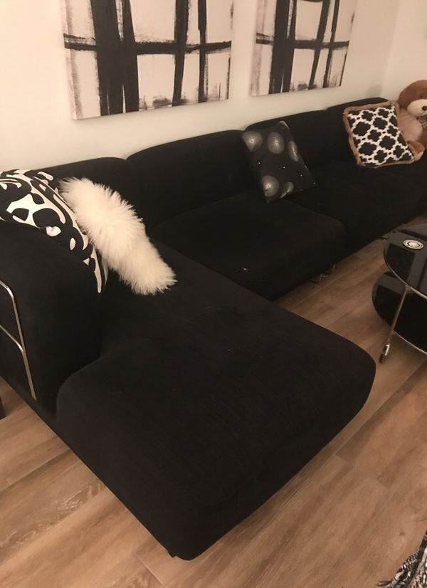 Sectional Couch Black Cloth For Sale In Boca Raton Fl Offerup