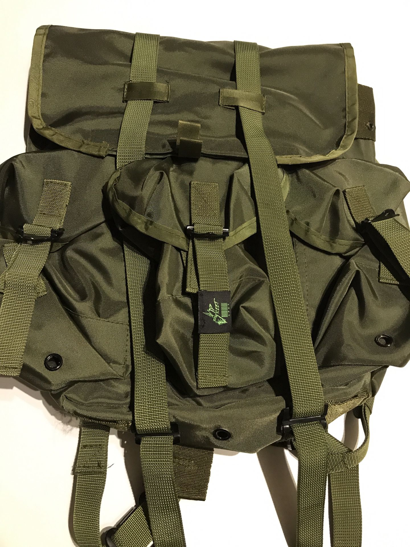 Vintage style army green backpack