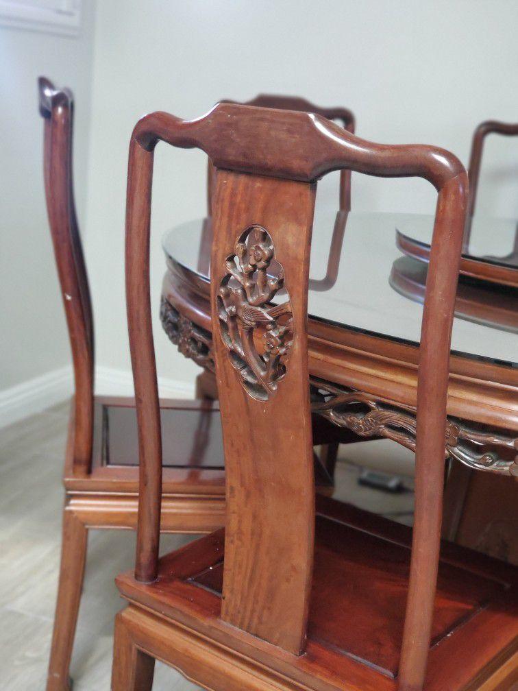 Dark Cherry Rosewood Flower and Bird Round Oriental Dining Set with 8 Chairs