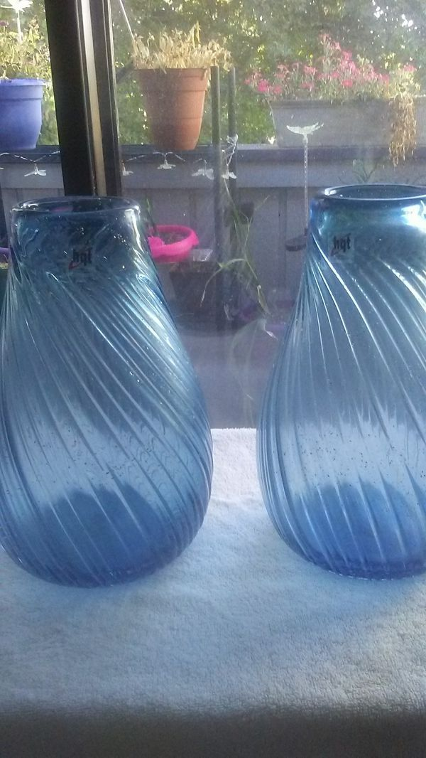 2 Hqt Handmade Glass Vases 1st By 7inches In Width For Sale In