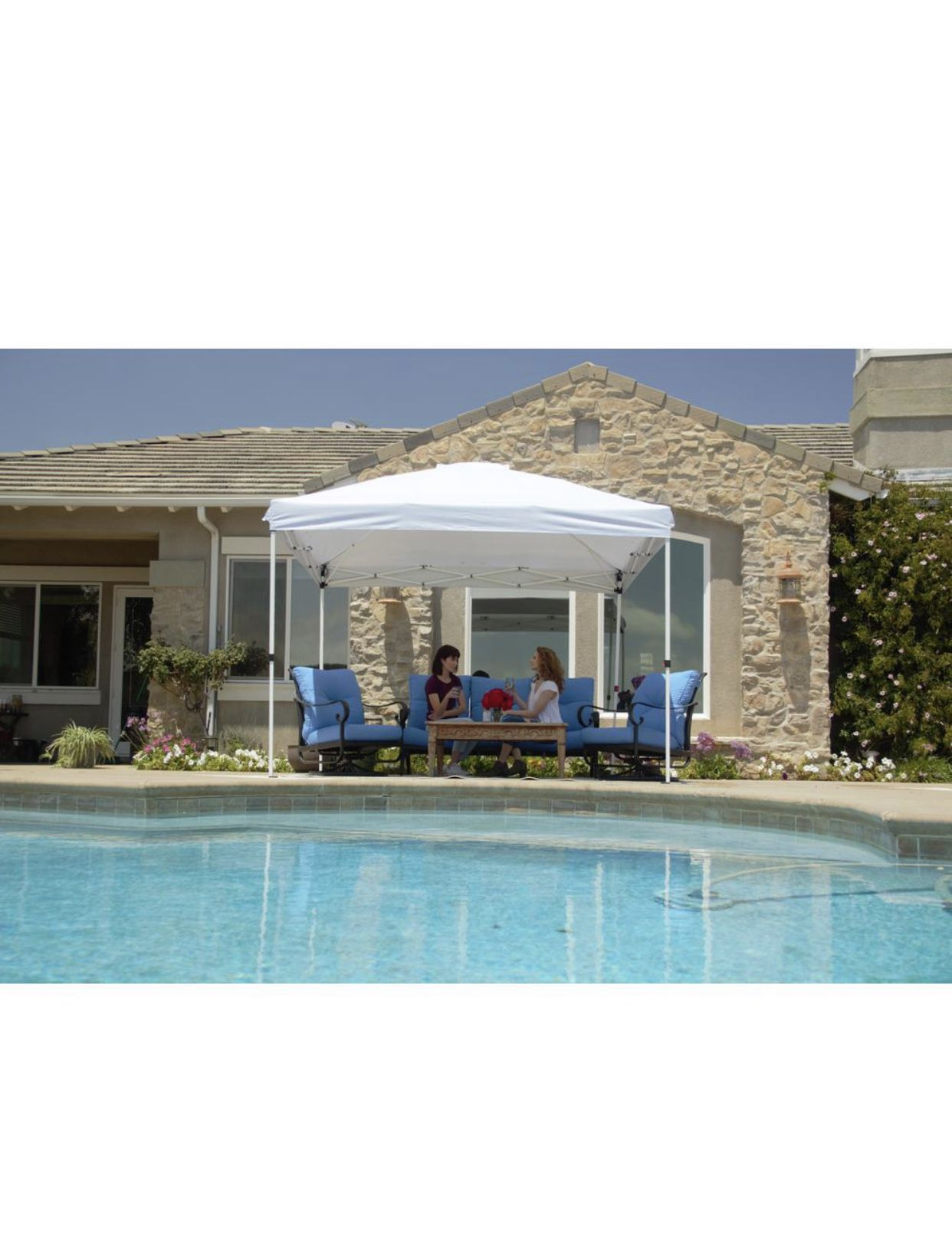 Everbilt 10 ft. x 10 ft. White Commercial Instant Canopy-Pop Up Tent with Wall Panel