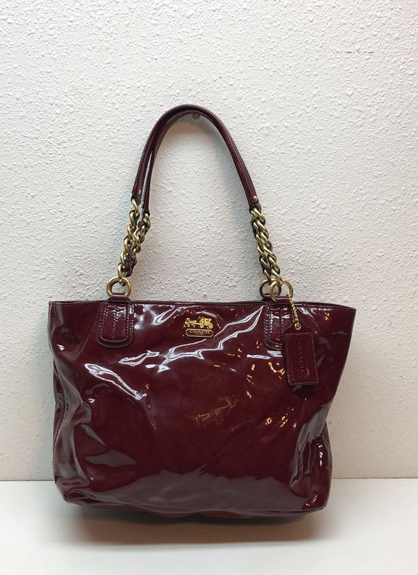 Coach Deep Red Shiny Leather Handbag Purse No F1275 20484