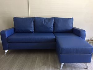 Blue Faux Leather sofa with Ottoman, 2 pillows for Sale in Fort Lauderdale, FL