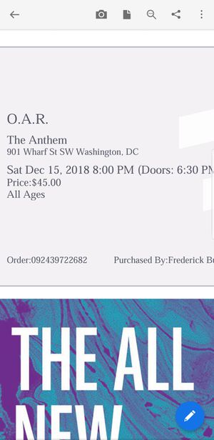 2 Tickets for O.A.R. tonight for Sale in undefined