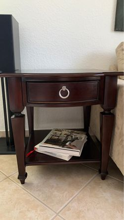 Dark Brown wooden side table Thumbnail